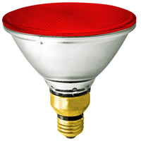 90 Watt - PAR38 - Red - Halogen - 2,500 Life Hours - 120 Volt