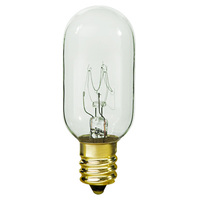25 Watt - T8 Incandescent Light Bulb - 10 Pack - Clear - Candelabra Brass Base - 130 Volt - Satco S3907