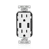 USB Charger - Dual Receptacle - Tamper-Resistant - White - 15 Amp