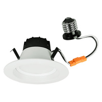 510 Lumens - 4 in. Retrofit LED Downlight - 10W - 50W Equal - 2700 Kelvin - Smooth Baffle Trim - Dimmable - 120V - GCP 601