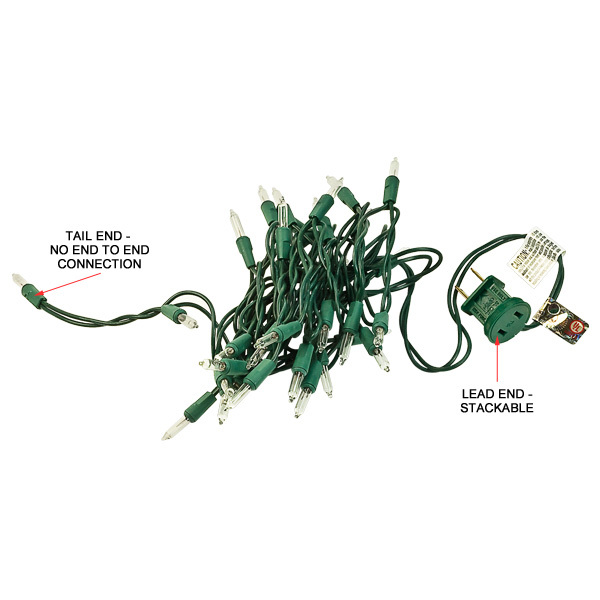 11 ft. String Lights - (35) Mini Lights - CLEAR - 3 in. Bulb Spacing - Green Wire Image
