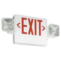 Single Face LED Combination Exit Sign - LED Lamp Heads - Red Letters - 90 Min. Operation - White - 120/277 Volt - Lithonia ECR LED M6