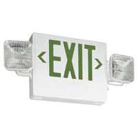 Single Face LED Combination Exit Sign - LED Lamp Heads - Green Letters - 90 Min. Operation - White - 120/277 Volt - Lithonia ECG LED M6
