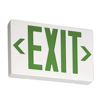 LED Exit Sign - White Thermoplastic - Green Letters - 120/277 Volt and Battery Backup - Lithonia EXG LED EL M6
