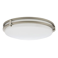 13 in. Dia. LED Flush Mount Ceiling Fixture - Cool White - 16 Watt - Brushed Nickel/White Acrylic - Energy Star Qualified - Lithonia FMSATL 13 14840 BN M4