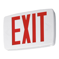 LED Exit Sign - Thermoplastic - Red Letters - 120/277 Volt - Battery Backup - Lithonia LQM S W 3 R 120/277 EL N M6