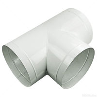 6 x 6 x 6 in. - T-Connector - Galvanized Steel - Pre-crimped - For use with 6 in. Circular Air Duct Systems - PLT SC-TY150