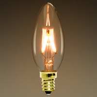 140 Lumens - 2 Watt - 25W Equal - LED Chandelier Bulb - Z-Shaped Filament - 2200 Kelvin - Tinted - Straight Tip - Candelabra Base - Dimmable