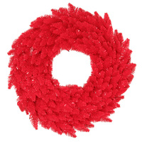 24 in. Christmas Wreath - Classic PVC Needles - Red Fir - Pre-Lit with Red Mini Lights - Vickerman