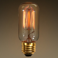 25 Watt - Vintage Light Bulb - T12 - Radio Style - 3.625 in. Length - Squirrel Cage Filament - Multiple Supports - Tinted