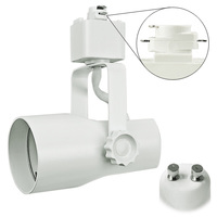 White - Telescope Track Fixture - Uses GU10 Based MR16s - Halo Track Compatible - 120 Volt