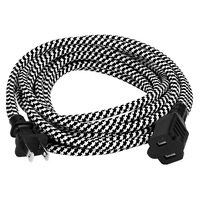 15 ft. - Black and White Houndstooth - SVT Rayon Covered Extension Cord - 18 AWG - 2 Prong Plug - 2 Wire - Indoor Use Only - 130V Max