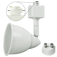 White - Bullet Cylinder Track Fixture - MR16 GU10 Base - Operates up to 50W Max. - Halo Track Compatible - 120 Volt - PLT 10056