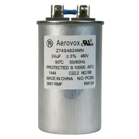 480VAC - Oil Filled Capacitor for HID Lighting - 24uf - Metal Round Case - Aerovox Z74S4824MN