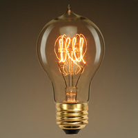 40 Watt - Vintage Antique Light Bulb - A19 Victorian Style - 4.4 in. Length - Quad Loop Filament - Multiple Supports - Amber Tinted