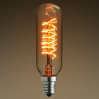 25 Watt - Vintage Antique Light Bulb - Tubular Style - 3.5 in. Length - Candelabra Base - Spiral Filament - Multiple Supports - Clear