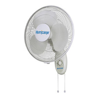 Hurricane Supreme Series Wall Mount Fan - 16 in. Diameter - 3 Speed Setting - 60 Watt - 120 Volt - 0.5 Amps - Includes 5 ft. Power Cord