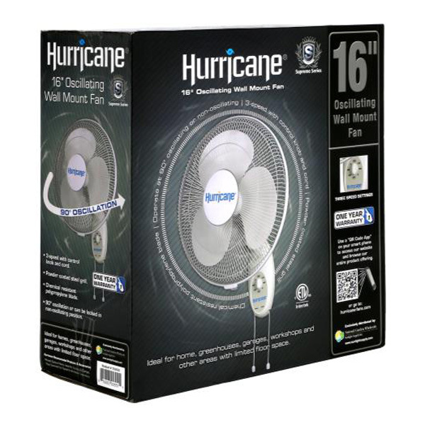 Hurricane Supreme Series Wall Mount Fan - 16 in. Diameter Image