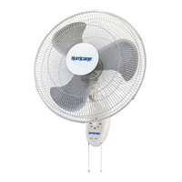 Hurricane Supreme Series Wall Mount Fan - 18 in. Diameter - 3 Speed Setting - 60 Watt - 120 Volts - 0.5 Amps - Includes 5 ft. Power Cord