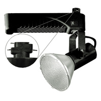 Black - Lamp Holder and Gimbal - Operates 70 Watt PAR38 Metal Halide - Compatible with Halo Track - Built-In Electronic Ballast - Nora NTM-6438/70B