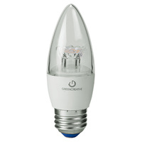 500 Lumens - 5.5W - 60W Equal - LED Chandelier Bulb - 2700 Kelvin - Clear - Straight Tip - Medium Base - Dimmable - 120V - Green Creative 97824