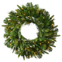 7 ft. Christmas Wreath - 936 Realistic Molded Tips - Cashmere Pine - Pre-Lit with LED Warm White Bulbs - Vickerman A118385LED