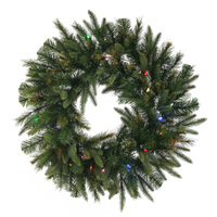 7 ft. Christmas Wreath - 936 Realistic Molded Tips - Cashmere Pine - Pre-Lit with LED Multi-Color Bulbs - Vickerman A118386LED