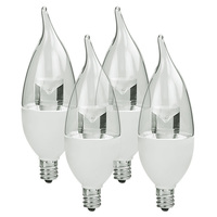 500 Lumens - 6.5W - 60W Equal - LED Chandelier Bulb - 3000 Kelvin - Clear - Bent Tip - Candelabra Base - 120V - 4 Pack - Euri Lighting EB13-1000e-4