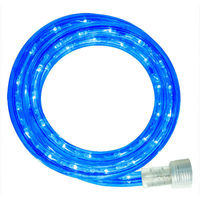 LED - 24 ft. - Rope Light - Blue - 120 Volt - Includes Easy Installation Kit - Clear Tubing with Blue LEDs - Signature LED-13MM-BL-24KIT