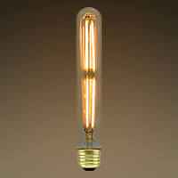 5 Watt - LED - Vintage Antique Light Bulb - T10 Tubular Style - 7 in. Length - Medium Base - Hairpin Filament - Multiple Supports - Amber