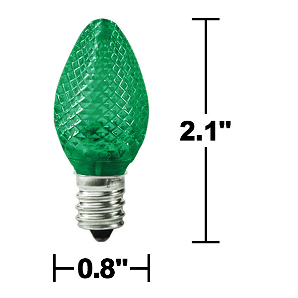 25 Pack - C7 LED - Green - Faceted Finish Image