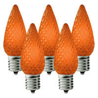 25 Pack - C9 - LED - Amber-Orange - Faceted Finish - Christmas Light Replacement Bulbs - Intermediate Base