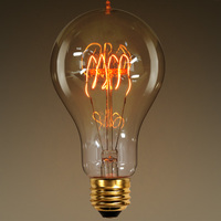 25 Watt - Vintage Light Bulb - A23 - 1900 Victorian Style - 5.25 in. Length - Quad Loop Filament - Clear