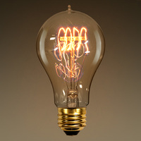 60 Watt - Vintage Antique Light Bulb - 1900 Victorian Style - 4.18 in. Length - Quad Loop Filament - Multiple Supports - Clear