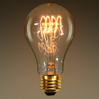 40 Watt - Vintage Antique Light Bulb - 1900 Victorian Style - 4.75 in. Length - Quad Loop Filament - Multiple Supports - Clear