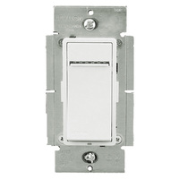 White/Ivory/Light Almond - 1000VA Max. - Fluorescent Dimmer for Mark 10 Powerline or TU-Wire Ballasts - Single Pole / 3-Way / Multi-Location - Features LED Locator and Brightness Display - Push Pad Switch - 120 Volt - Leviton Vizia+ VPX10-1LZ