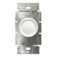 White - 600 Watt Max. - Incandescent Dimmer - Single Pole - Rotary Switch - 120 Volt - Lutron D-600R-WH
