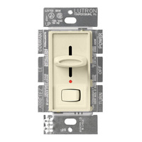 Ivory - 600 Watt Max. - Incandescent Dimmer with Locator Light - Single Pole - Rocker and Slide Switch - 120 Volt - Lutron Skylark S-600PNL-IV