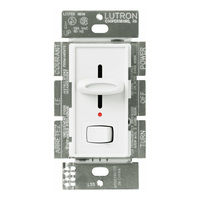 White - 600 Watt Max. - Incandescent Dimmer with Locator Light - Single Pole - Rocker and Slide Switch - 120 Volt - Lutron Skylark S-600PNL-WH