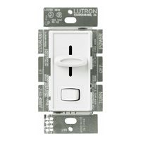 White - 8 Amp Max. - Lutron Skylark Fluorescent Dimmer - Single Pole - Rocker and Slide Switch - 120 Volt - Lutron SF-10P-WH