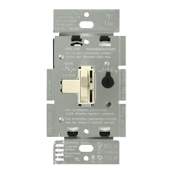 Lutron Ariadni AY-600PNL-AL - 600 Watt Max. - Incandescent Dimmer with Locator Light Image