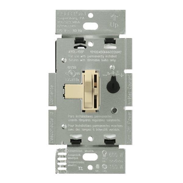 Lutron Ariadni AY-600PNL-IV - 600 Watt Max. - Incandescent Dimmer with Locator Light Image