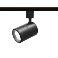 Black - Flat Back Cylinder Track Fixture - Black Baffle - Includes 15 Watt LED MR16 - Halo Track Compatible - 120 Volt