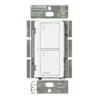 Incandescent, Halogen, FL, CFL, LED, ELV, MLV, Fan Loads - 2 Button RF Switch - White - Multi-Location - 5 Amp Maximum - 120-277 Volt - Lutron PD-5S-DV-WH