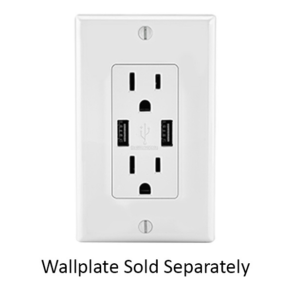 USB Dual Charger Receptacle - White Image