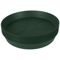 16 in. Green Heavy Duty Saucer - Collects Excess Water Drainage and Soil - Hydrofarm HGS16P - 10 Pack