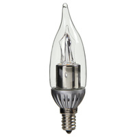 LED Chandelier Bulb - 4W - 200 Lumens - 25W Equal - 2700 Kelvin Warm White - CRI 80 - Clear - Flame Tip - Dimmable - Candelabra Base - 120V
