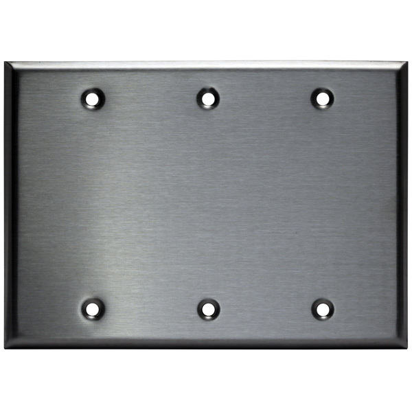 Blank Wall Plate - Stainless Steel - 3 Gang Image