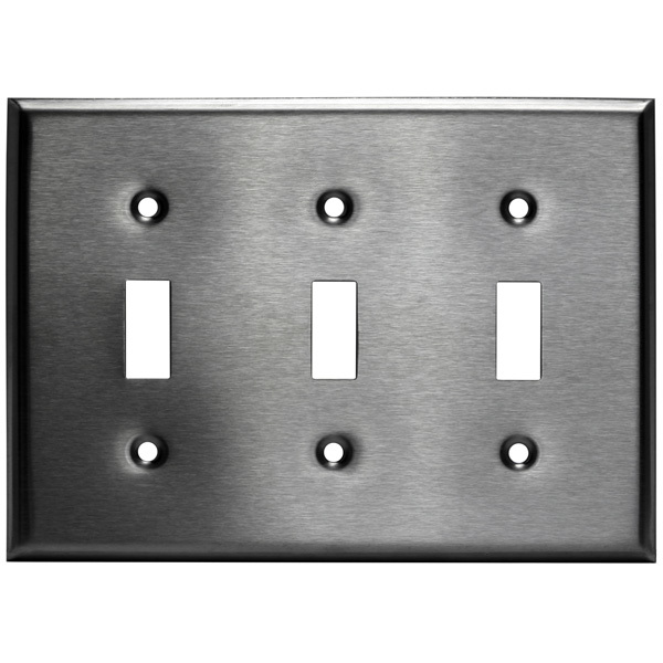 Toggle Wall Plate - Stainless Steel - 3 Gang Image