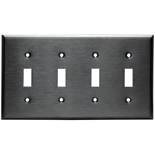 Toggle Wall Plate - Stainless Steel - 4 Gang Image